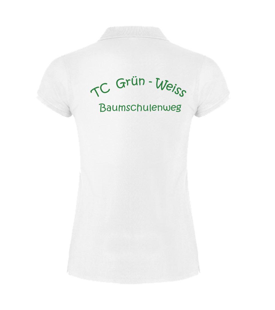 3) Funktions-Poloshirt / Damen - Weiss - Rückseite